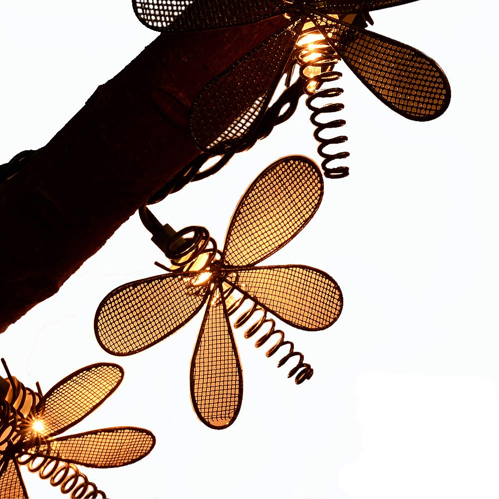 LIDORE 10 Vintage Style New Metal Dragonfly String Lights Ideal for Garden Outdoor and Indoor Decoration Summer Lighting