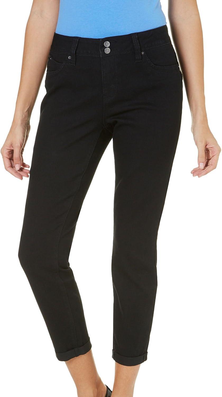 Royalty by YMI Womens WBB Solid Cuffed Crop Jeans