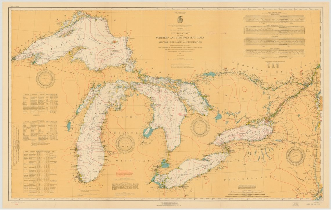Amazon Com Great Lakes Historical Map 1921 13 X19 Paper Print