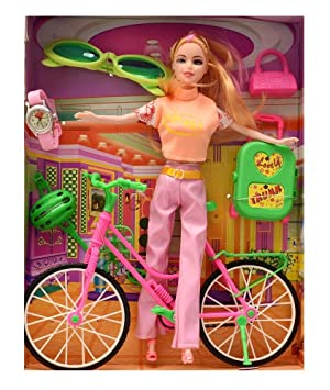 Super Toy Beautiful Doll with Bicycle Watch & Goggles Best Gift for Girls (Assorted Colors)
