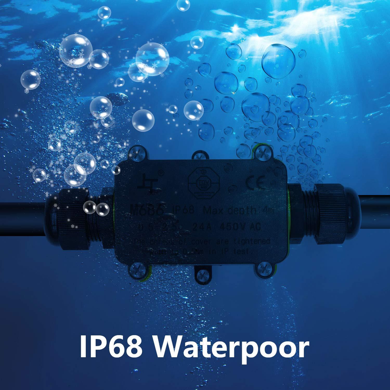 Schwarze Kunststoffverschraubung Externe IP68 Wasserdichte elektrische Abzweigdosen f/ür den Au/ßenbereich 9 mm 2-Wege-/Ø 4 mm Wasserdichte Kabelverbindung Wasserdichte Abzweigdose