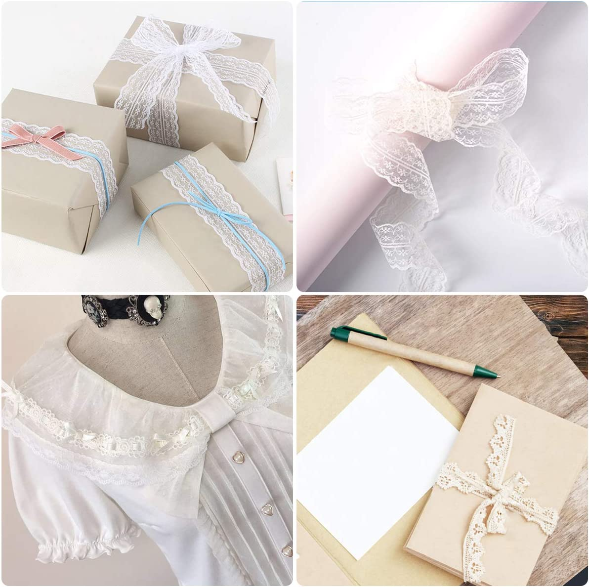 10 yards 3.5cm KING DO WAY Ruban De Dentelle Blanche Bordure Garniture DIY Couture Loisirs Cr/éatifs Lace Trim Ribbons Dentelle Blanche , 5 Pcs