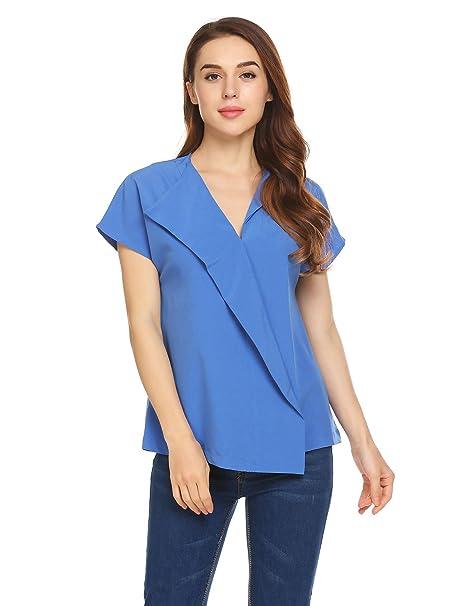 5c464af7750 Grabsa Women's Lapel V-Neck Short Sleeve Faux Wrap Solid Color Blouse Top