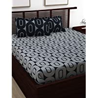 Story@Home 120 TC Candy Series 1 Piece Double Size Elegant Flower Print Bedsheets with 2 Pillow Covers