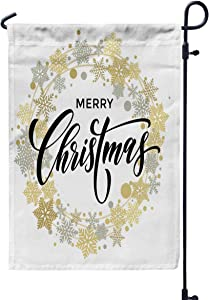 GROOTEY Welcome Garden Flag Home Yard Decorative 12X18 Inches Xmas Yard Christmas Lettering with Golden and Silver Ornaments Wreath Decoration of Stars Double Sided Seasonal Garden Flags,Red Gold