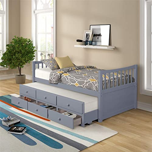 NORAN Twin Trundle Bed Solid Wood House Daybed