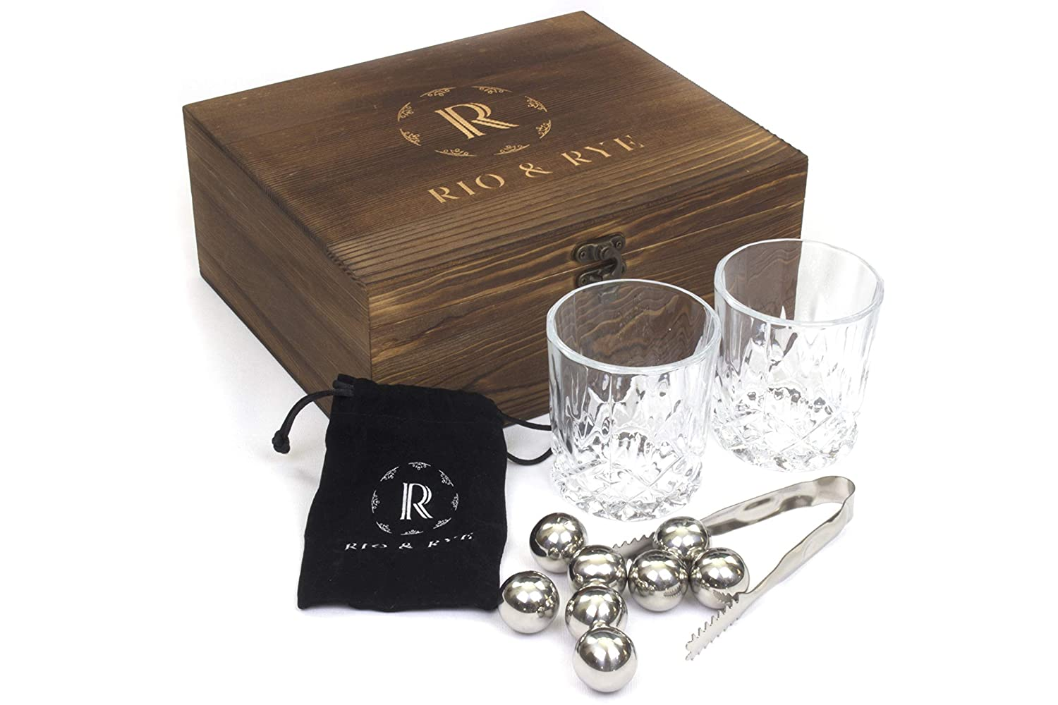 Whiskey Glasses and Stones Gift Set - 2 Large Crystal Whiskey Glasses, 8 Cooling Whiskey Stones, Velvet Bag and Tongs in Handcrafted Wooden Box Rio & Rye