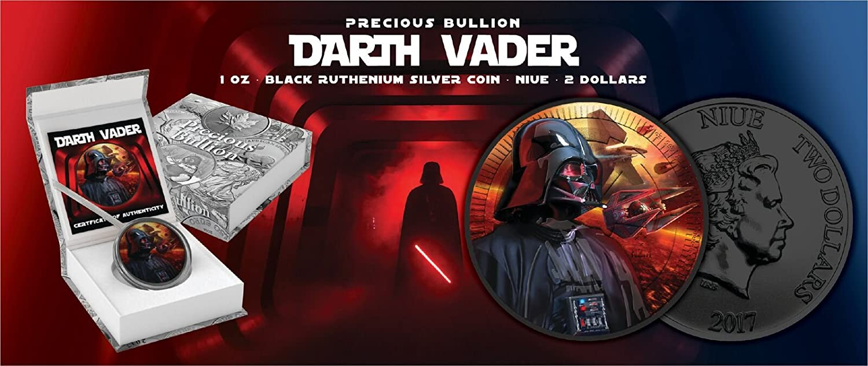 Nieu 2017 $2 Star Wars TIE//IN Interceptor 1 Oz Ruthenium Colored Coin
