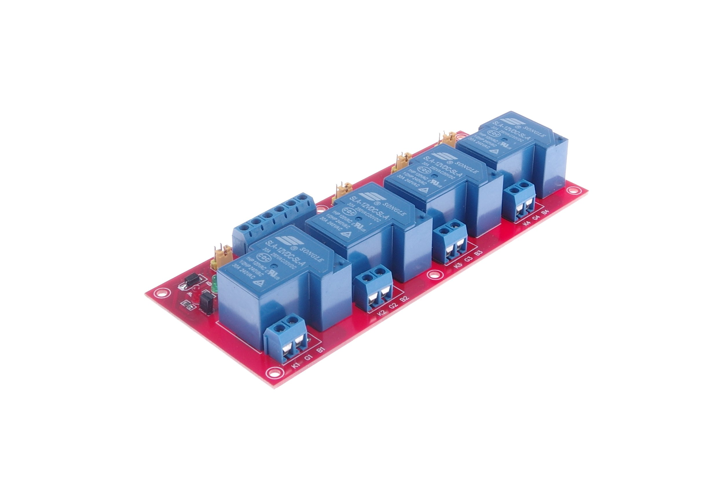 KNACRO DC 12V 4-Channel 30A Relay Module High-Low Level Trigger High power relay module high/low level Single-chip expansion board