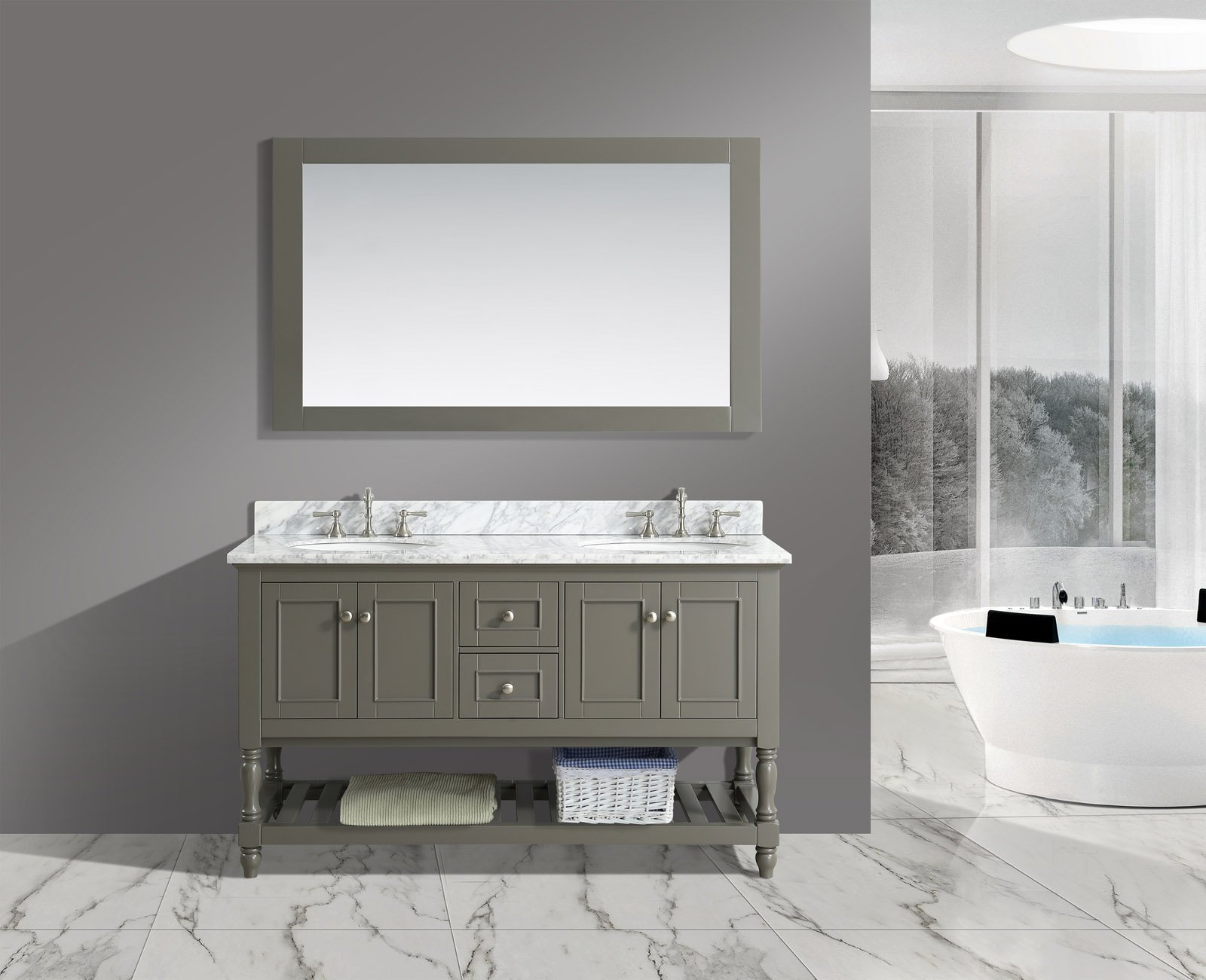 UrbanFurnishing.net - Silvia 60-Inch (60'') Bathroom Sink Vanity Set with White Italian Carrara Marble Top - Distressed Gray