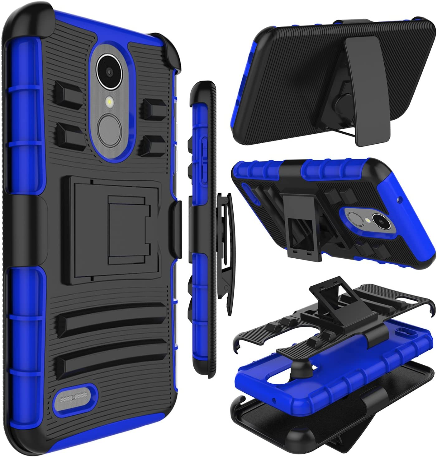 LG Aristo 3 Case, LG Tribute Empire Case, Zenic Heavy Duty Shockproof Full-Body Protective Hybrid Case with Swivel Belt Clip and Kickstand for LG LV3 2018/LG Rebel 3/LG Aristo 2/LG Zone 4(Blue)