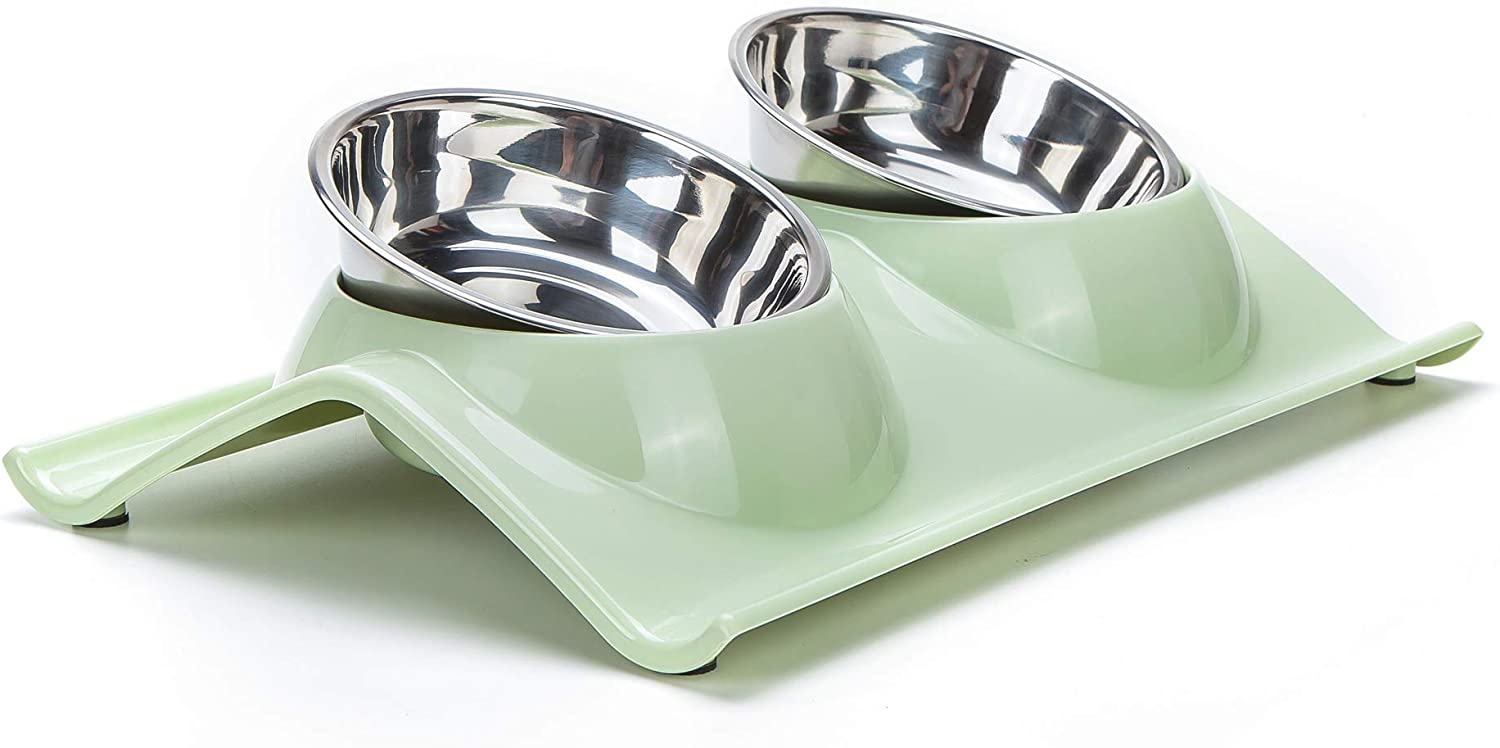 Gefryco Double Dog Cat Bowls Stainless Steel Elevated Raised Bowl Feeders Pet Feeding Station for Food and Water