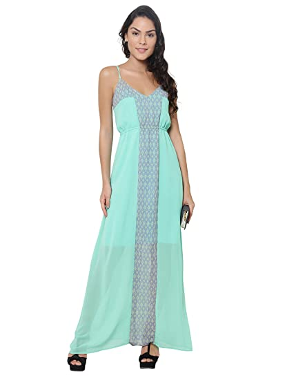 2f6fb2bc571 Martini Women Lime Green Strappy Maxi Dress  Amazon.in  Clothing ...