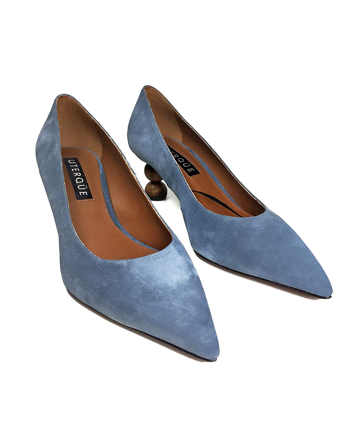 3350b9b7fad3c Uterque Women's Suede Court Shoes with Geometric Heels 4128/051 ...