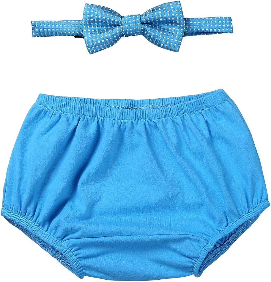 Alvivi Short B/éb/é Gar/çon Fille Bloomer Slip Cale/çon Casual Mignon Shorts de Bain en Coton /& Cravate Noeud Papillon Tenues de Bapt/ême Anniversaire 12-18 Mois