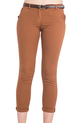 Abbino 2956 Pantalones para Mujer - Hecho en ITALIA - 3 Colores - Verano Primavera Algodón Largos De...