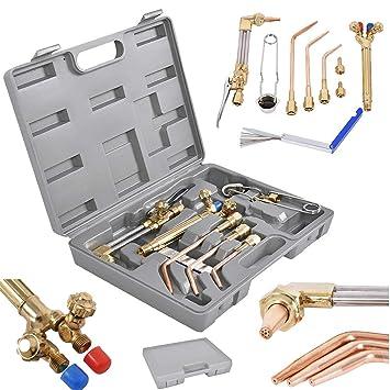 10 PCS Gas Welding And Cutting Kit Oxygen Torch Acetylene Welder Tool Set W//