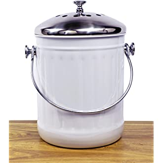 #4 Indoor Kitchen Stainless Steel Compost Bin U2013 White U2013 1.2 Gallon Container  With Double Charcoal Filter