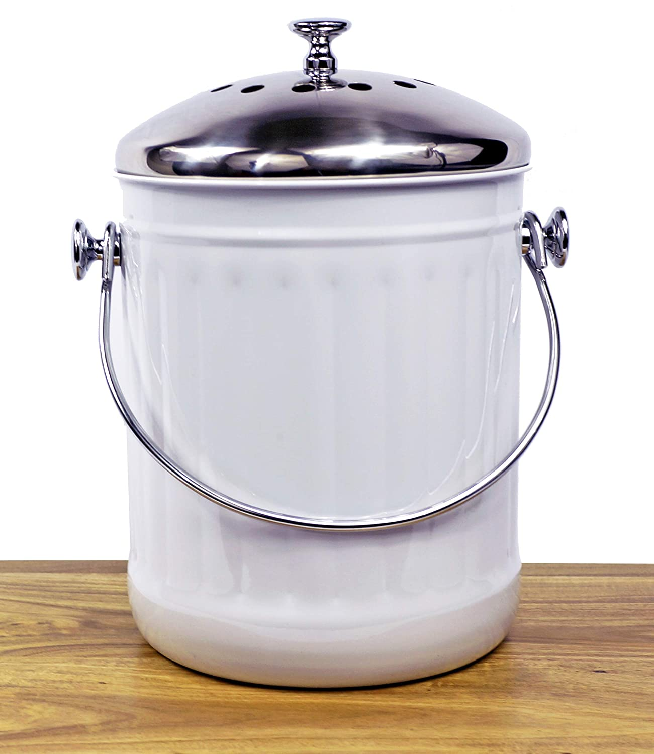 +Sale+ Indoor Kitchen Stainless Steel Compost Bin - White - 1.2 Gallon Container with Double Charcoal Filter for Odor Absorbing - Perfect Caddy for Any Counter Top - Non Stick Bucket for Easy Tossing Family Deco SYNCHKG080630