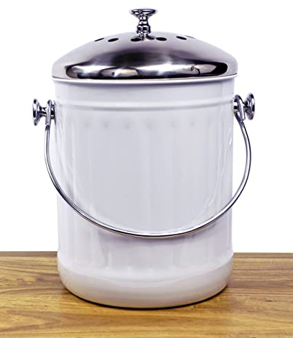 Pleasing Indoor Kitchen Stainless Steel Compost Bin White 1 2 Gallon Container With Double Charcoal Filter For Odor Absorbing Perfect Caddy For Any Download Free Architecture Designs Parabritishbridgeorg