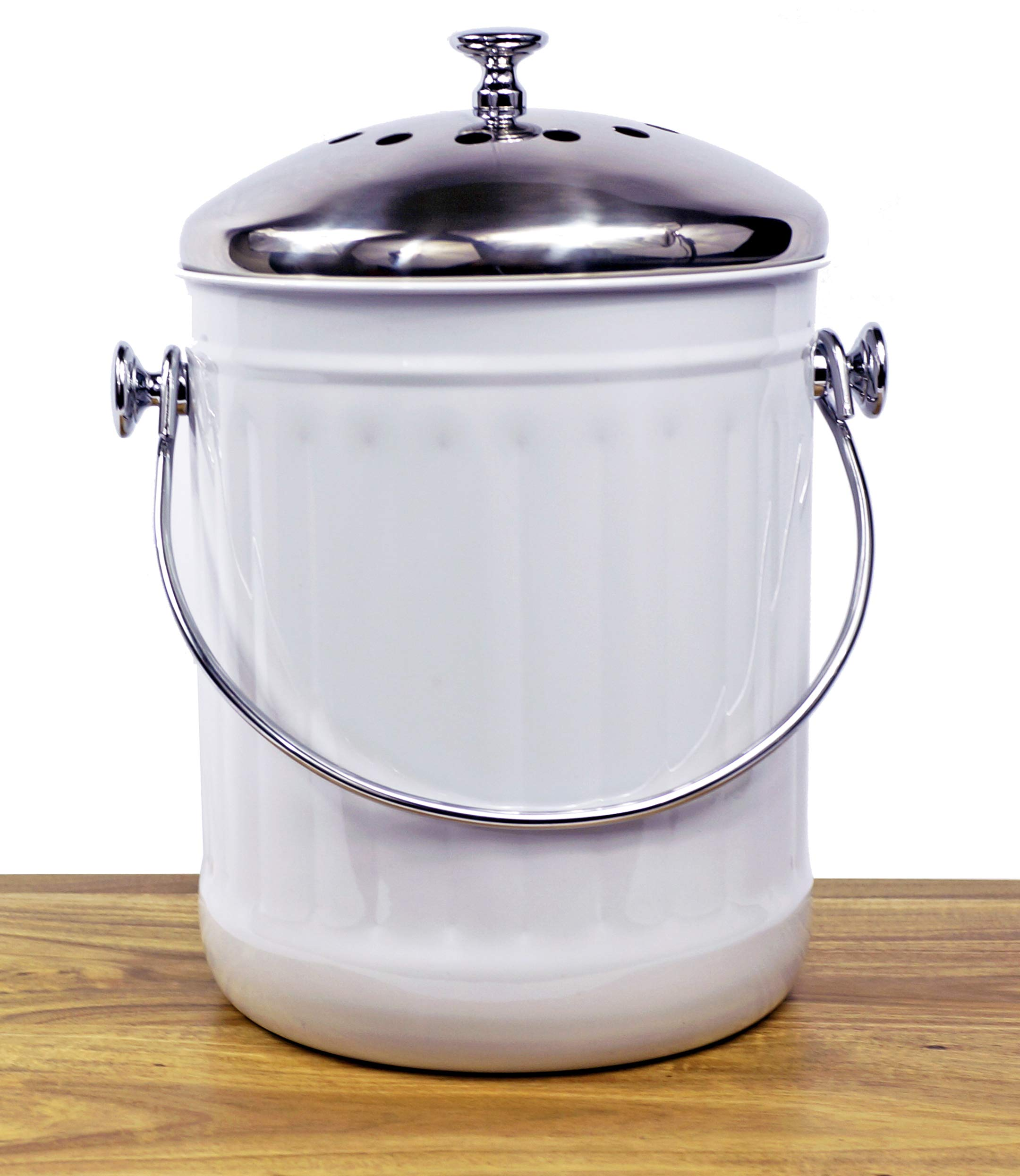 Indoor Kitchen Stainless Steel Compost Bin – White – 1.2 Gallon Container with Double Charcoal Filter for Odor Absorbing - Perfect Caddy for Any Counter Top - Non Stick Bucket for Easy Tossing