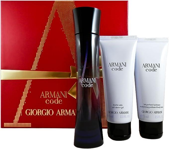Giorgio Armani Código Femme regalo Set, 1er Pack (Eau de Parfum 50 ml, loción corporal 75 ml, Gel de Ducha 75 ml): Amazon.es: Belleza