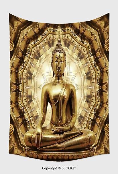 Amazon.com: Home Decor Tapestry Wall Hanging Thai Golden Buddha On ...