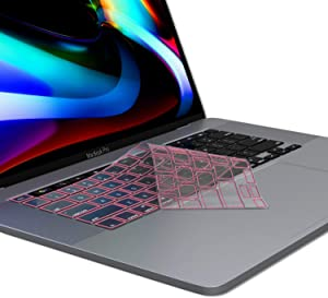 Kuzy MacBook Air Keyboard Cover, 13 inch 2019 2018 New A1932 with Retina Display Touch ID Premium Ultra Thin TPU Protective Skin Protector, Apple MacBook Air 2019 Keyboard Cover, Pink