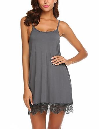 2dfda02818a Avidlove Women s Sexy Sleep Chemise Lace Modal Slip Sleepwear Nightgown(Dark  Gray