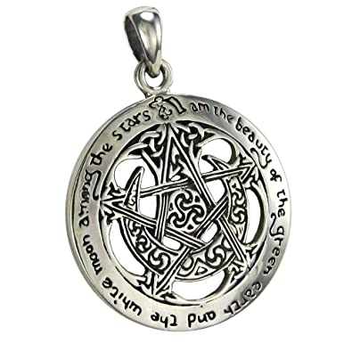 Amazon sterling silver pentagram cut out moon pentacle pendant sterling silver pentagram cut out moon pentacle pendant 1 inch diameter aloadofball Gallery