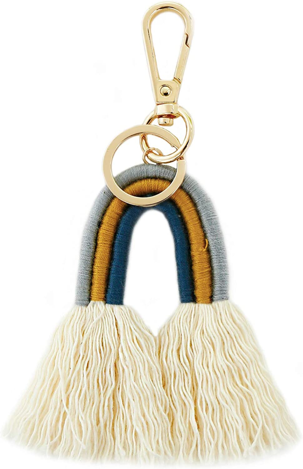 JIUZUI Pagoda Tassel Key Chain Straps For Hanging Decoration Assorted Colors,Beige