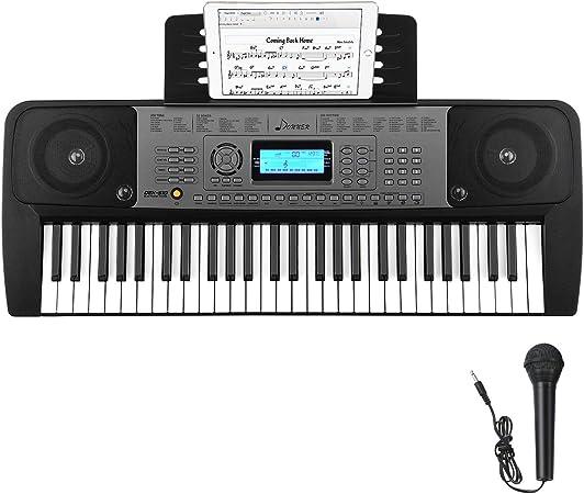 Donner Teclado Piano Electrónico Portátil 54 Teclas con Soporte para Partituras y Micrófono Pantalla LCD para Principiantes Infantil, DEK-510