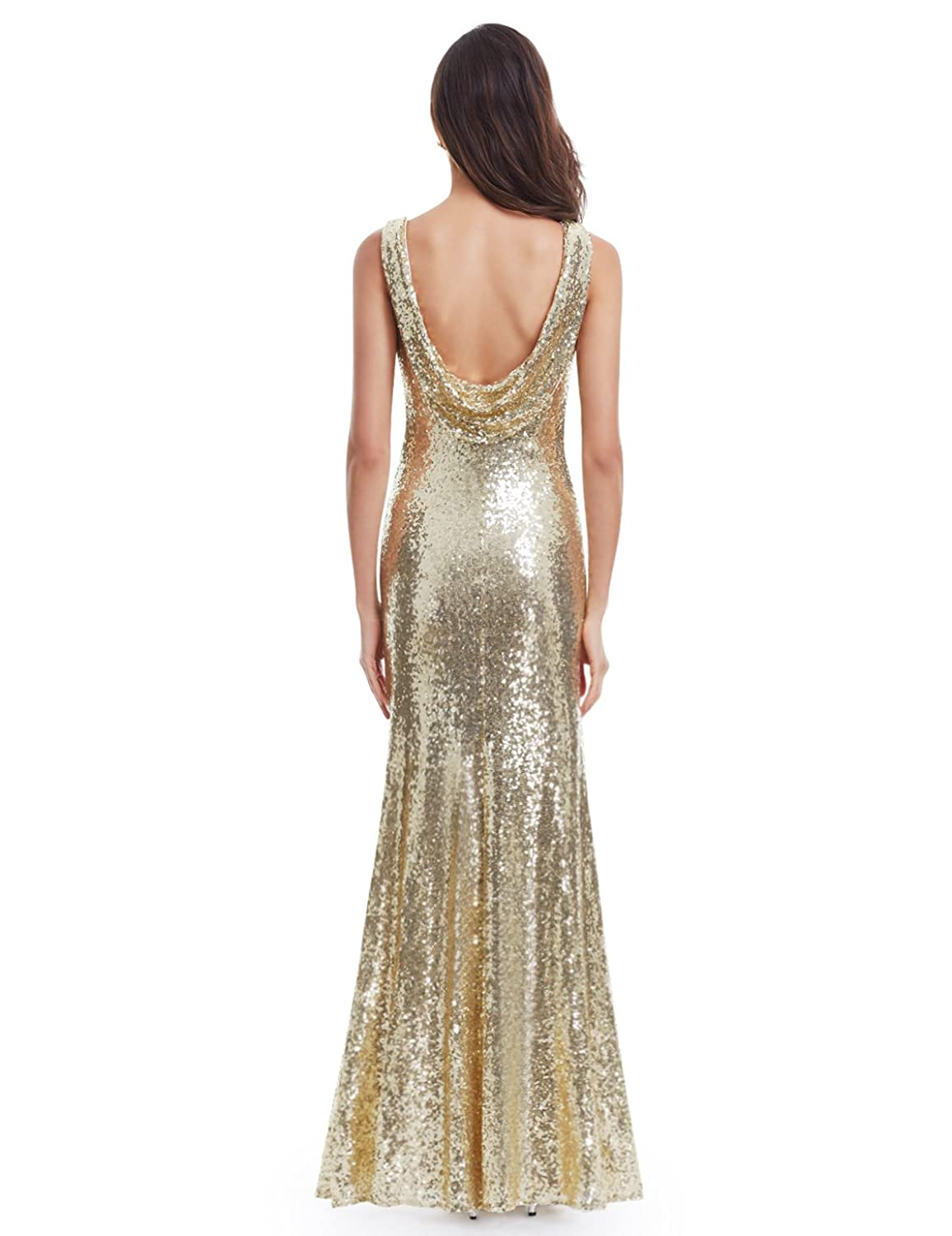 Amazon.com: Ever Pretty Sleeveless Long Sequins Evening Gown 07110 ...