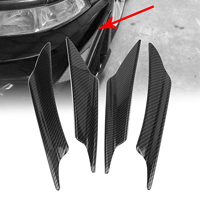 Car Auto Front Bumper Spoilers carbon fiber 4Pcs Universal ABS Carbon Fiber Car Body Front Bumper Splitter Fins Car Front Bumper Lip Spoiler Fins Canards Trim Kit with Adhesive Tape