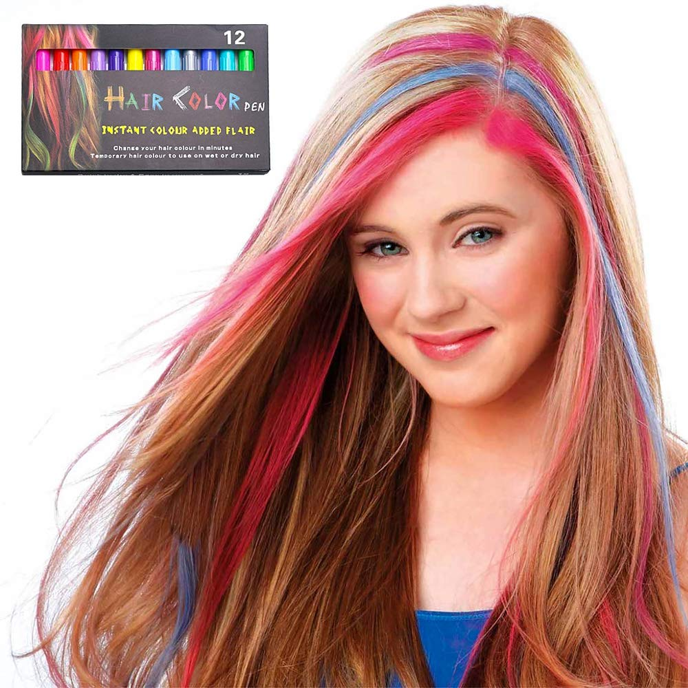 NANW 12 Color Temporary Hair Chalk, Hair Pens Crayon Salon Non-toxic Washable Hair Dye Safe for Cosplay Birthday New Year Christmas Gift for Makeup Kids Girls Teen Adults