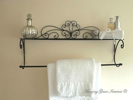 Porta Asciugamani Bagno Shabby : Shabby chic nero porta asciugamani da parete in metallo e scaffale