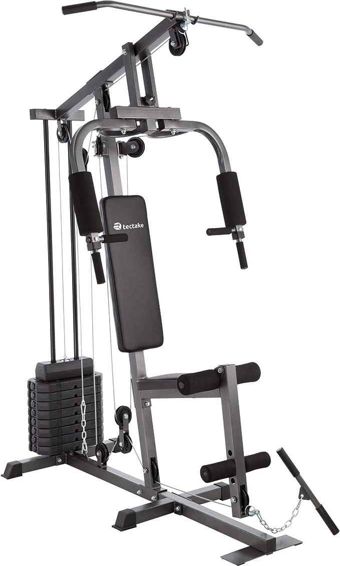 TecTake Multiestación Maquina de musculación   Módulo de Mariposa   Estribo para piernas   8x4,5 kg & 1x3,5 kg   Barra - Varios Modelos