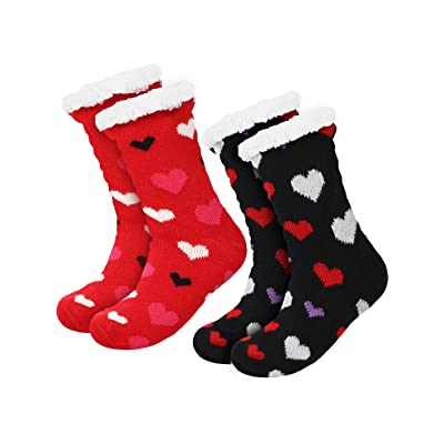 2 Pairs Women's Warm Slipper Socks Christmas Fuzzy Socks Fleece-lined Non Slip Slipper Socks (Black and Red) at Amazon Women's Clothing store