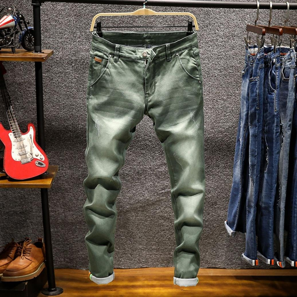 Promotion! Men Slim Jeans, NEARTIME Fashion Men's Autumn Casual Vintage Denim Hip Hop Work Trousers Washed Straight Pants by NEARTIME (Image #2)