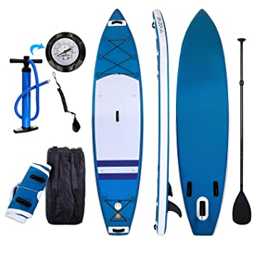 Profun Tabla Hinchable Paddle Surf Tabla de Surf Sup Set Stand Up Paddle Surf Board de 3M con Sup Board+Paleta Ajustable+Bomba de Aire+Mochila
