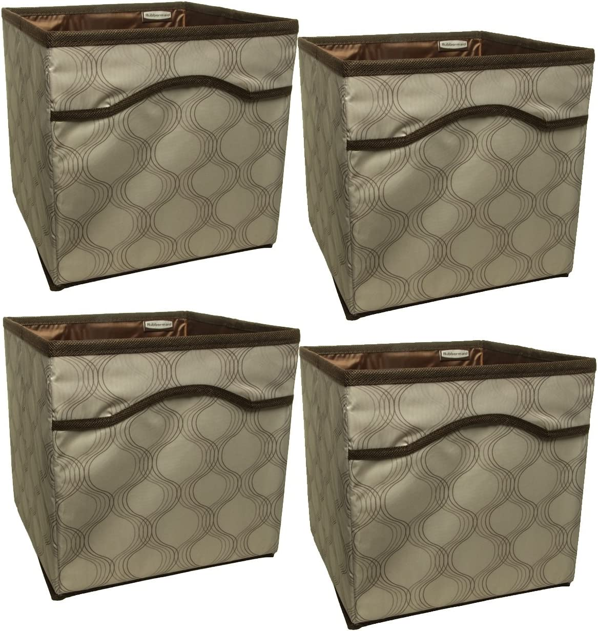 Rubbermaid (4 Pack) Collapsible Beige Canvas Basket Storage Containers Cubes Bins Folding Set