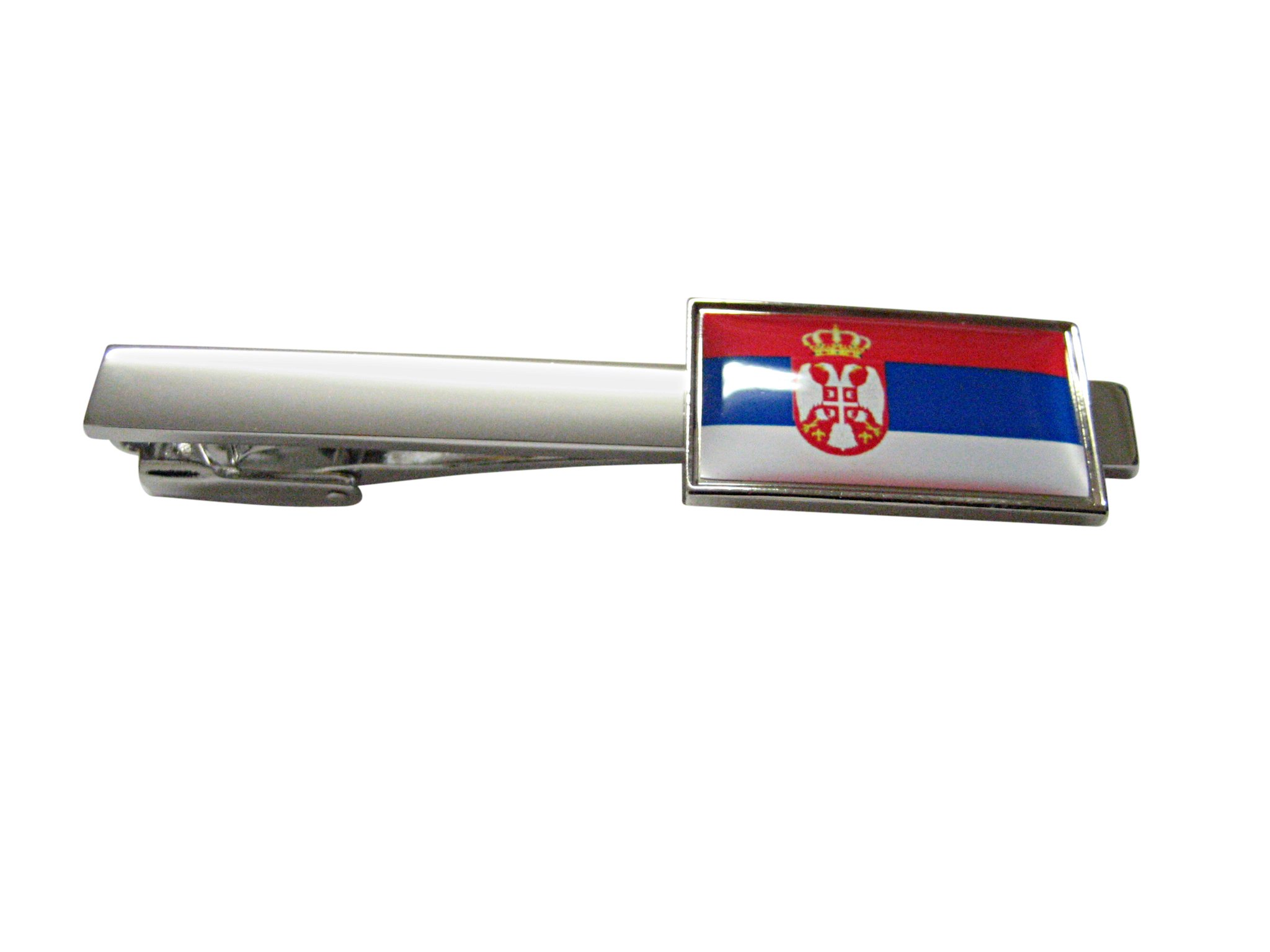 Thin Bordered Serbia Flag Square Tie Clip