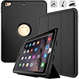 New iPad 9.7 2017/2018 case - DUNNO Three Layer Heavy Duty Full Body Protective Stand Case for Apple iPad 9.7 inch 2017/2018 Model(A1893/A1954/A1822/A1823) (Black)