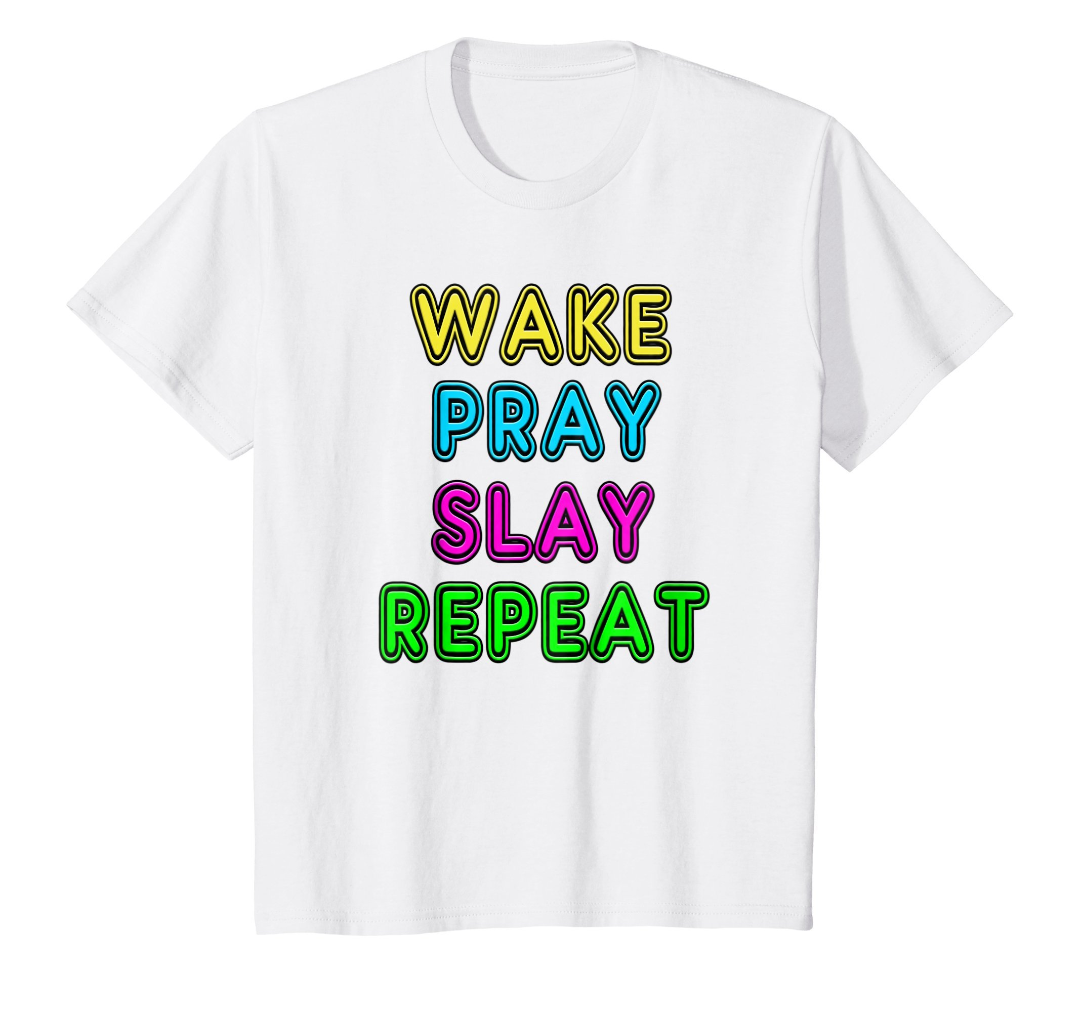 Kids Retro 80's Vintage Neon Sign Wake Pray Slay Repeat T-Shirt 10 White