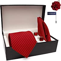 COCO CHANEL Men's Combo of Cotton Silk Necktie, Pocket Square and Lapel Pin Cufflinks(Red, Free Size)