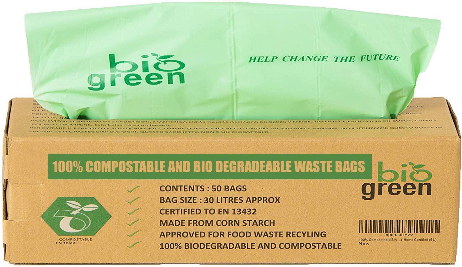 Biogreen Bolsas de Basura para Cocina para 30 litros, compostable, 50 Bolsas - Bolsas de Basura de Cesta para residuos de Comida – 30 litros EN 13432 –
