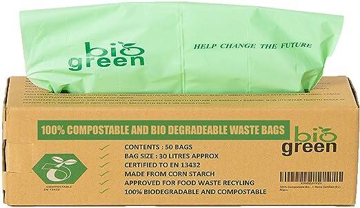 Biogreen Bolsas de Basura para Cocina para 30 litros, compostable ...
