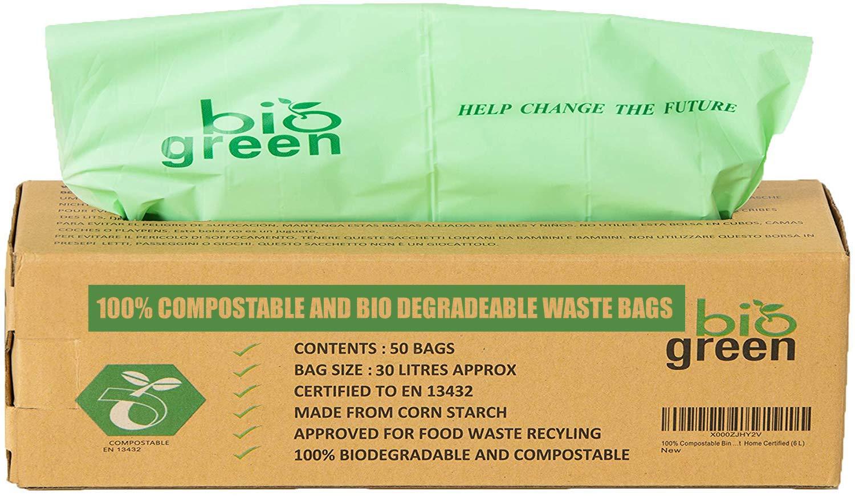 en 13432 Sacs Poubelle biod/égradables avec Guide de Compost 30L 50 Bio Bag d/échets Alimentaires Compost 30 litres Compostables Cuisine Bio Sacs Poubelle