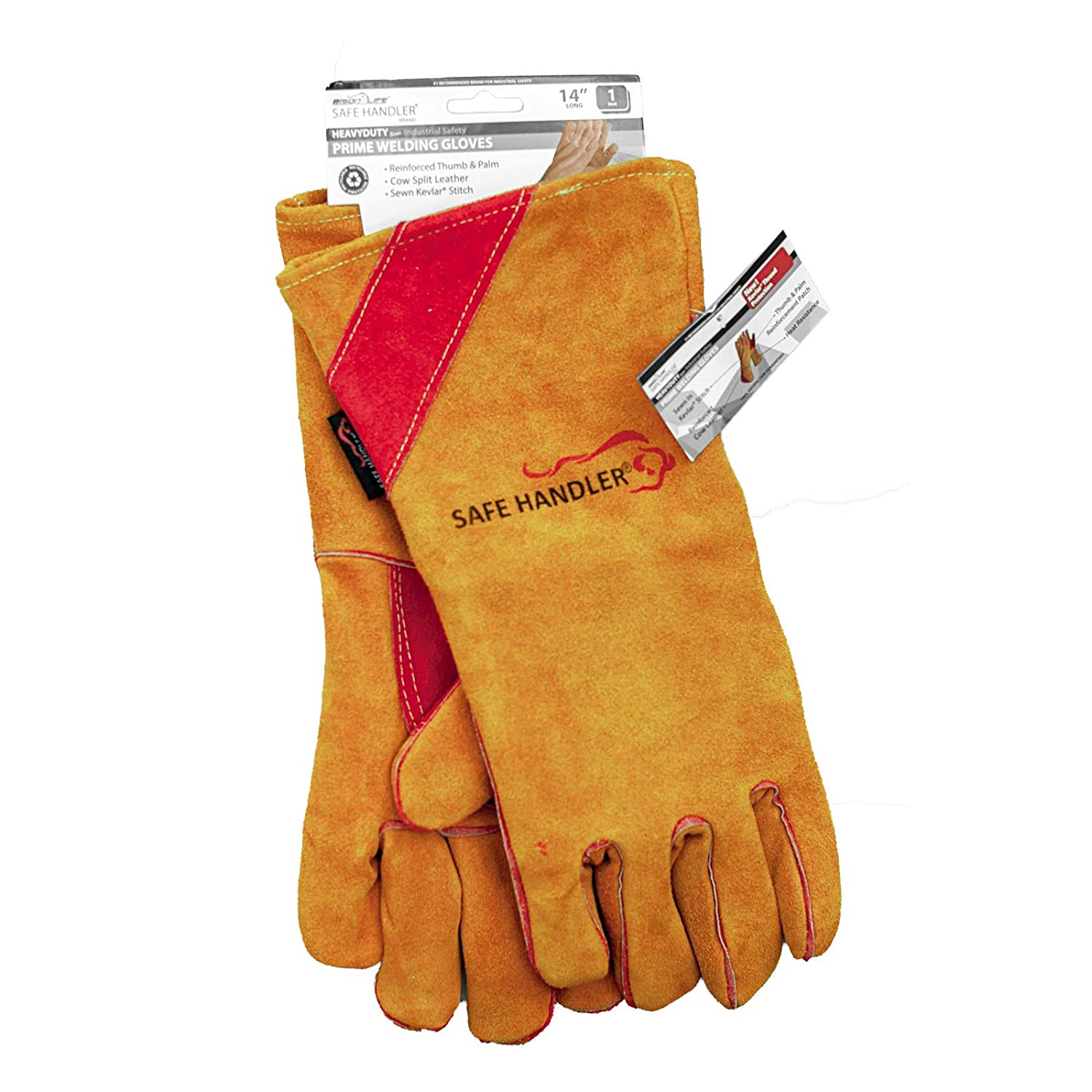Reinforced Thumb and Palm SAFE HANDLER Prime Welding Gloves with Kevlar Thread Protection TIG welder Heat Resistant for oven 1 Pair Fireplace Grill BBQ Animal Handling MIG welding 16 inch