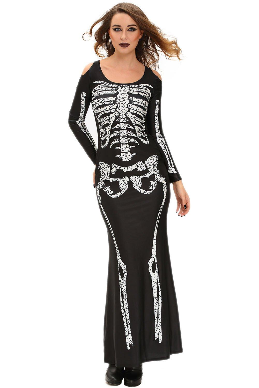 Nuevas señoras negro Cold Shoulder esqueleto Imprimir Halloween ...